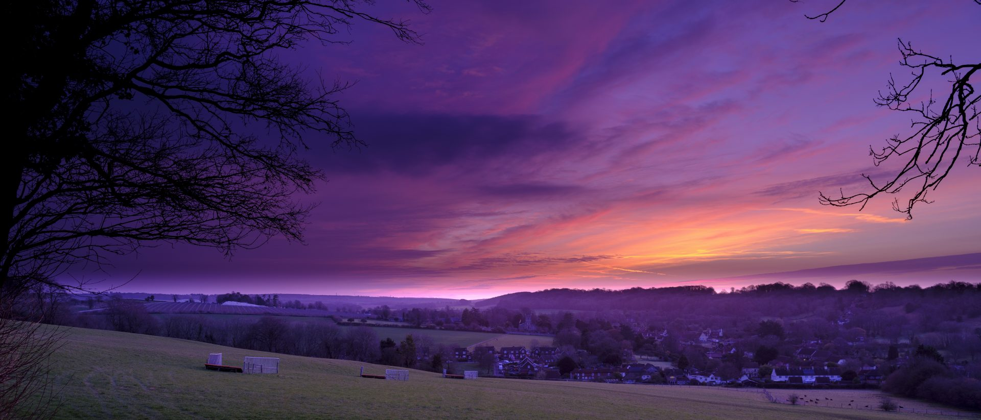 Spring sunrise over the village of Hambledon, Hampshire.  The village lies within the South Downs National Park, one of the UK's newest national parks created on 1 April 2011.